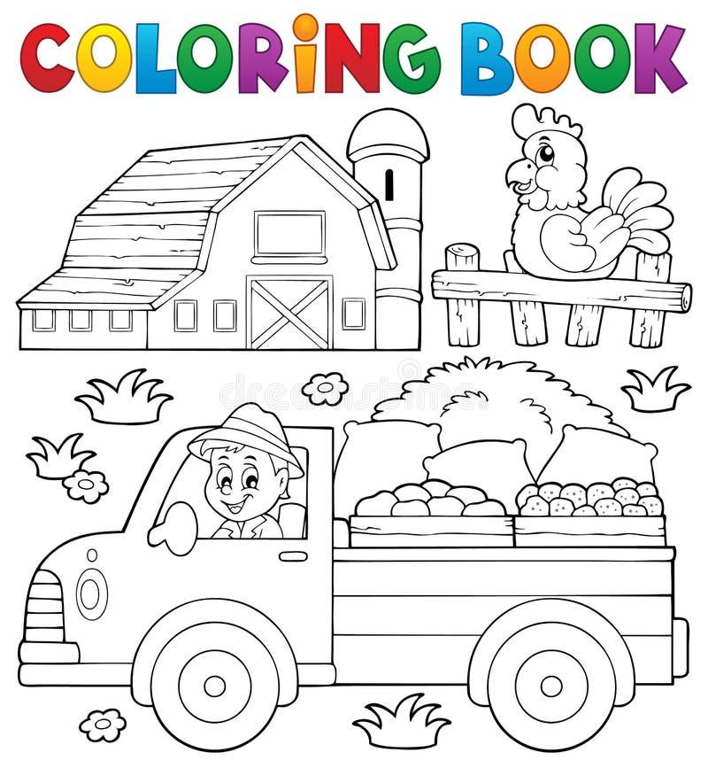 Χρωματίζοντας βιβλίο με το αγροτικό φορτηγό διανυσματική απεικόνιση