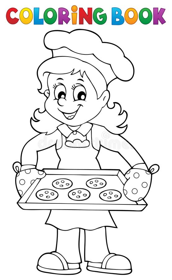 Χρωματίζοντας βιβλίο με το μάγειρα γυναικών ελεύθερη απεικόνιση δικαιώματος