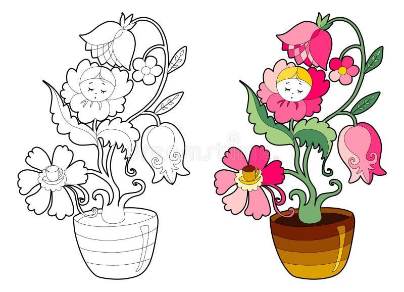 Χρωματίζοντας βιβλίο με το λουλούδι νεράιδων διανυσματική απεικόνιση