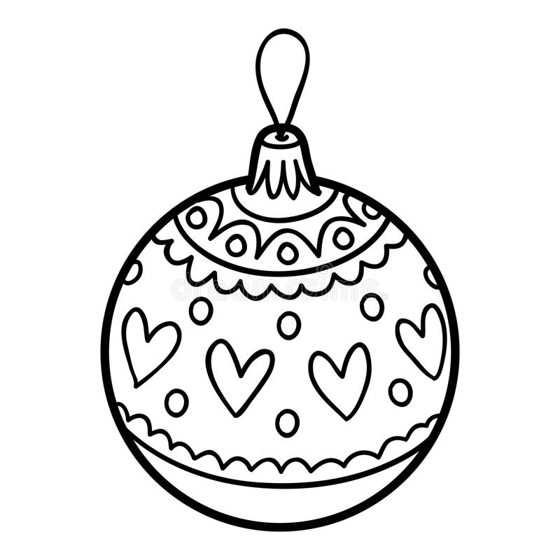 Χρωματίζοντας βιβλίο, παιχνίδι χριστουγεννιάτικων δέντρων, σφαίρα διανυσματική απεικόνιση