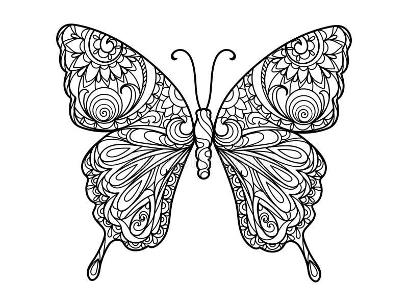 Χρωματίζοντας βιβλίο πεταλούδων για το διάνυσμα ενηλίκων στοκ εικόνες