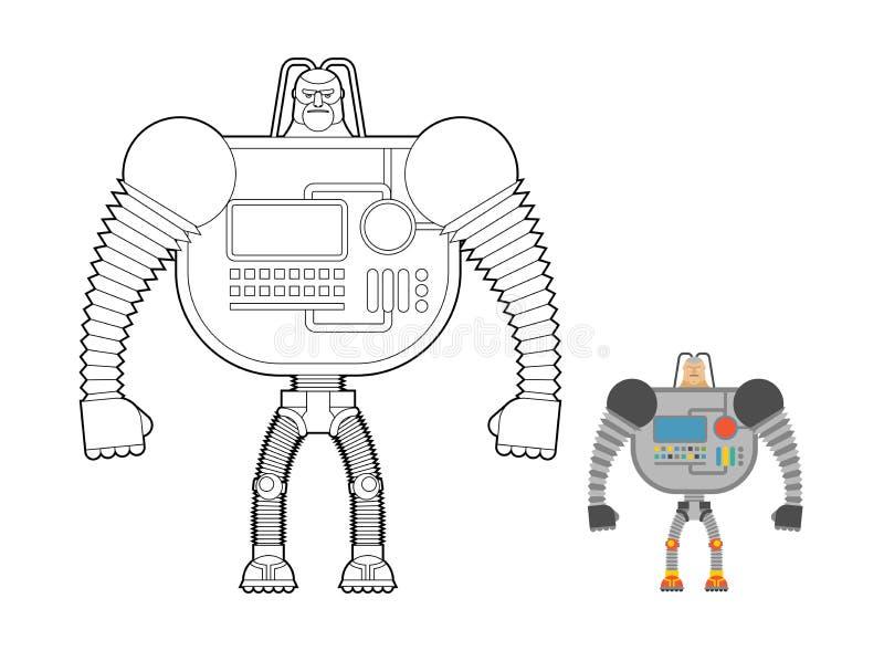 Χρωματίζοντας βιβλίο πολεμιστών Cyborg Μηχανή ατόμων από το μακρινό διάστημα Mech διανυσματική απεικόνιση