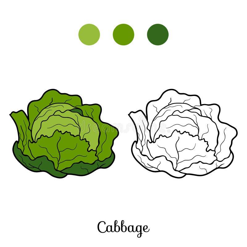 Χρωματίζοντας βιβλίο: φρούτα και λαχανικά (λάχανο) απεικόνιση αποθεμάτων