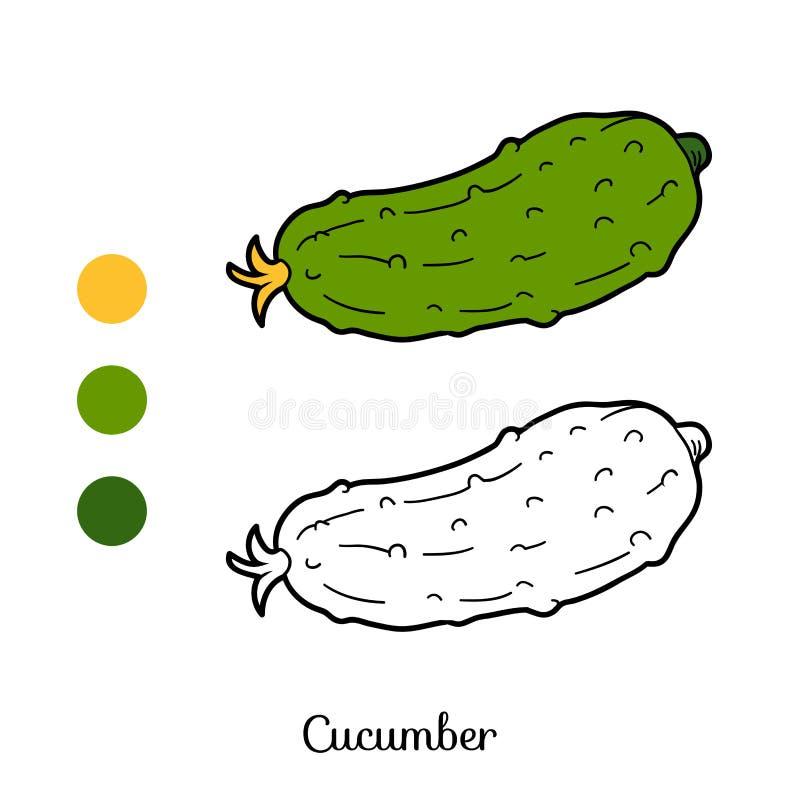 Χρωματίζοντας βιβλίο: φρούτα και λαχανικά (αγγούρι) διανυσματική απεικόνιση