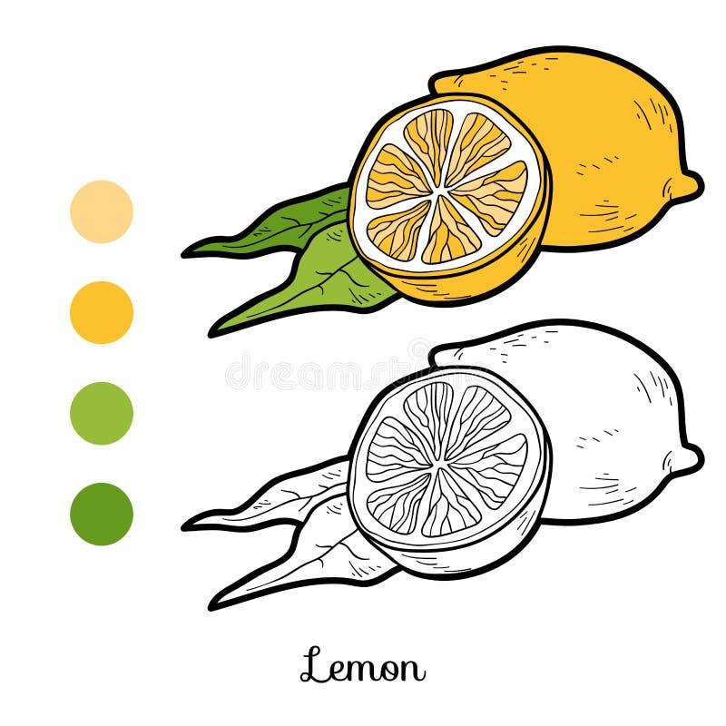 Χρωματίζοντας βιβλίο: φρούτα και λαχανικά (λεμόνι) διανυσματική απεικόνιση