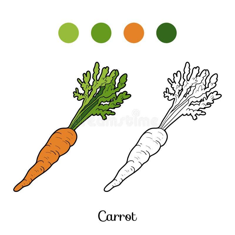 Χρωματίζοντας βιβλίο: φρούτα και λαχανικά (καρότο) απεικόνιση αποθεμάτων