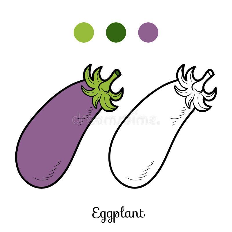 Χρωματίζοντας βιβλίο: φρούτα και λαχανικά (μελιτζάνα) ελεύθερη απεικόνιση δικαιώματος