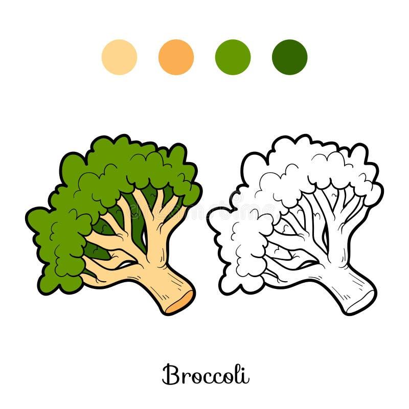 Χρωματίζοντας βιβλίο: φρούτα και λαχανικά (μπρόκολο) απεικόνιση αποθεμάτων