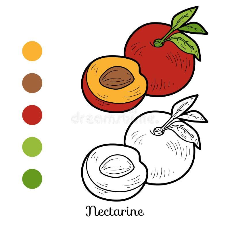 Χρωματίζοντας βιβλίο: φρούτα και λαχανικά (νεκταρίνι) διανυσματική απεικόνιση