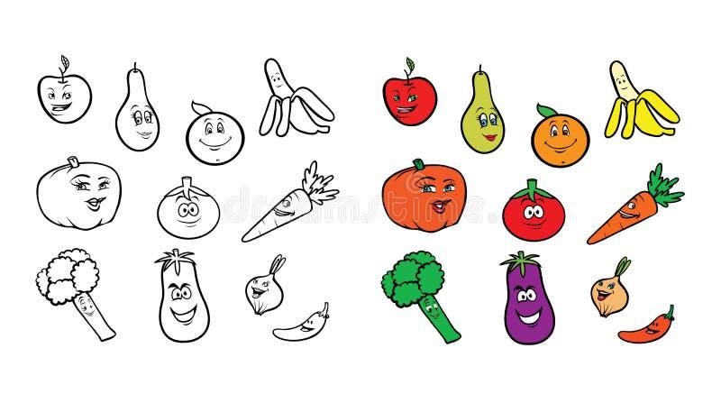 Χρωματίζοντας βιβλίο φρούτων veggies απεικόνιση αποθεμάτων