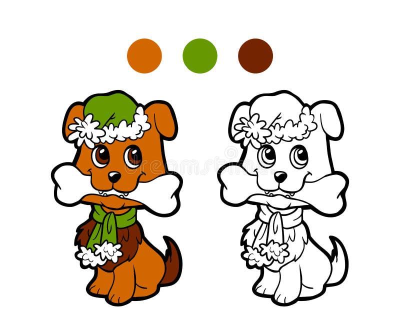 Χρωματίζοντας βιβλίο: Χειμερινό σκυλί Χριστουγέννων απεικόνιση αποθεμάτων