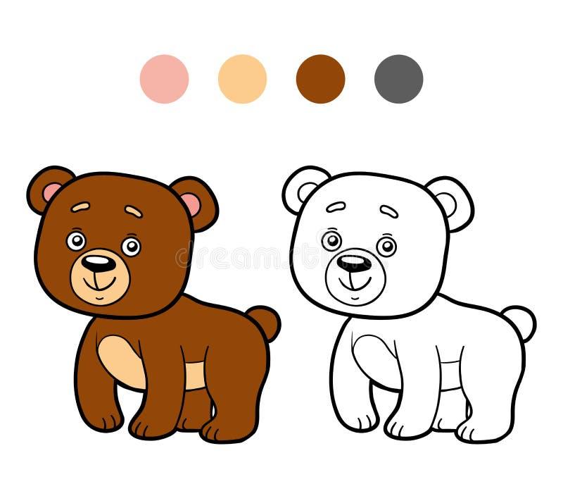 Χρωματίζοντας βιβλίο, χρωματίζοντας σελίδα (αρκούδα) απεικόνιση αποθεμάτων