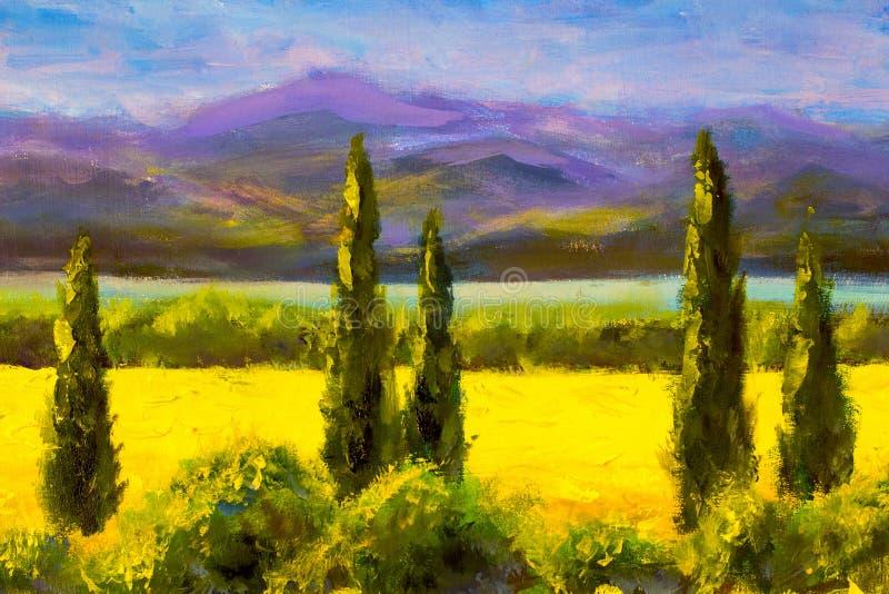Χρωματίζοντας θάμνοι βουνών τομέων τοπίων κυπαρισσιών της Τοσκάνης ελεύθερη απεικόνιση δικαιώματος
