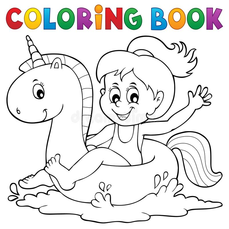 Χρωματίζοντας κορίτσι βιβλίων που επιπλέει στο μονόκερο 1 απεικόνιση αποθεμάτων