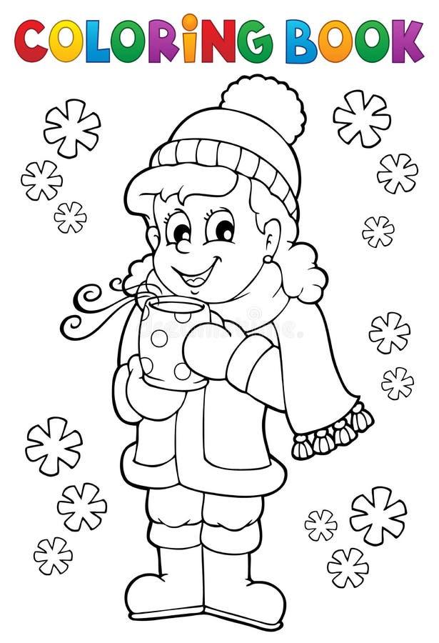 Χρωματίζοντας κορίτσι βιβλίων στα χειμερινά ενδύματα απεικόνιση αποθεμάτων