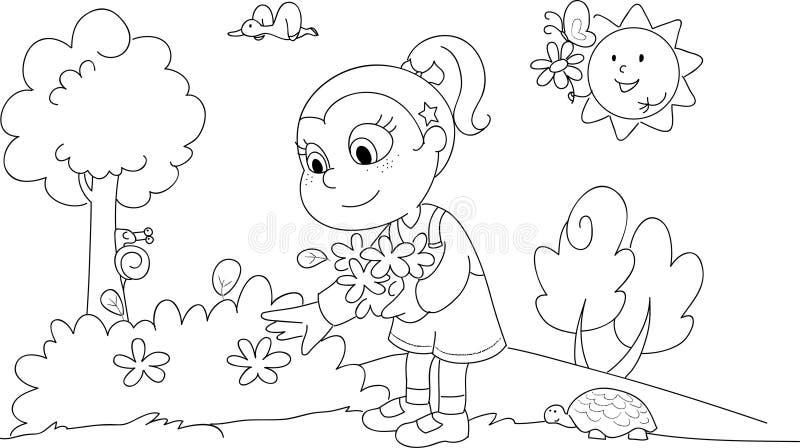 Χρωματίζοντας κορίτσι την άνοιξη ελεύθερη απεικόνιση δικαιώματος