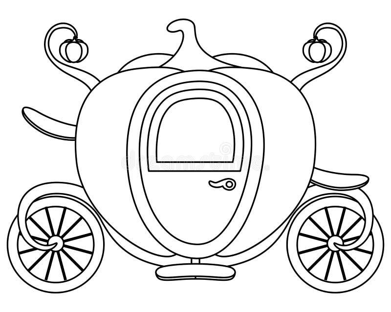 Χρωματίζοντας μεταφορά Cinderella κολοκύθας ελεύθερη απεικόνιση δικαιώματος