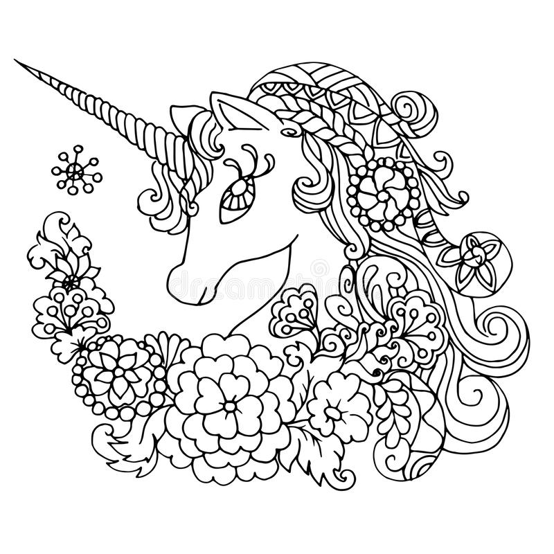 Χρωματίζοντας μυθικός λευκός μονόκερος βιβλίων ελεύθερη απεικόνιση δικαιώματος