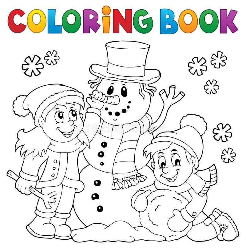 Χρωματίζοντας παιδιά βιβλίων που χτίζουν το χιονάνθρωπο 1 διανυσματική απεικόνιση