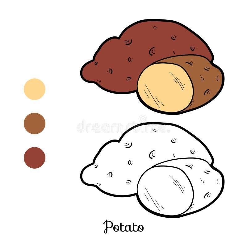 Χρωματίζοντας παιχνίδι βιβλίων: φρούτα και λαχανικά (πατάτα) ελεύθερη απεικόνιση δικαιώματος