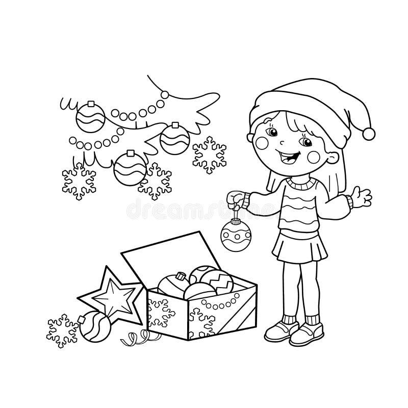 Χρωματίζοντας περίληψη σελίδων του κοριτσιού κινούμενων σχεδίων που διακοσμεί το χριστουγεννιάτικο δέντρο με τις διακοσμήσεις και απεικόνιση αποθεμάτων