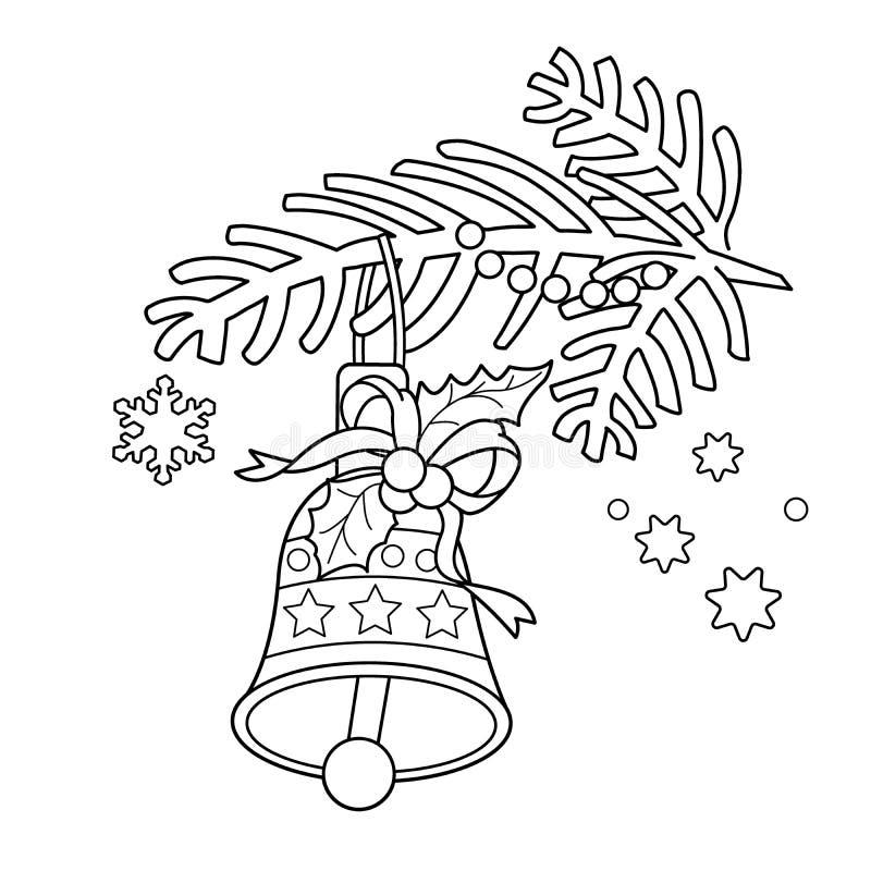 Χρωματίζοντας περίληψη σελίδων του κουδουνιού Χριστουγέννων Κλάδος χριστουγεννιάτικων δέντρων απεικόνιση αποθεμάτων