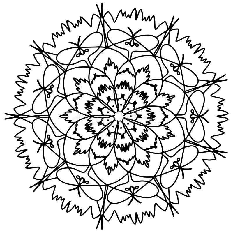 Χρωματίζοντας ράστερ λουλουδιών Mandala για τους ενηλίκους απεικόνιση αποθεμάτων