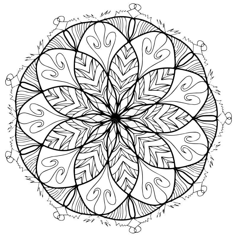 Χρωματίζοντας ράστερ λουλουδιών Mandala για τους ενηλίκους ελεύθερη απεικόνιση δικαιώματος