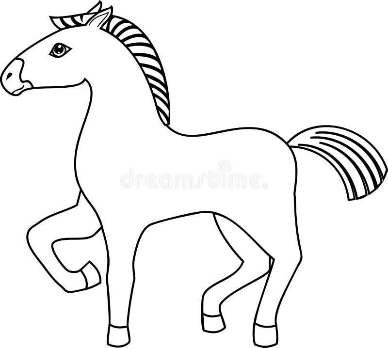Χρωματίζοντας σελίδα Άλογο κινούμενων σχεδίων με το αυξημένο μπροστινό πόδι ελεύθερη απεικόνιση δικαιώματος