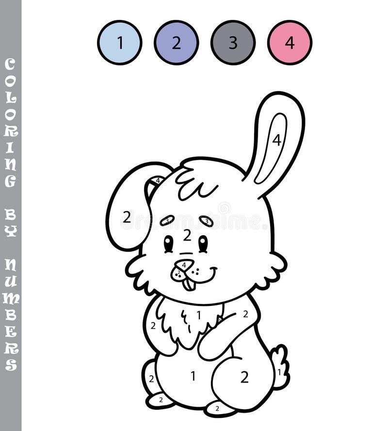 Χρωματίζοντας σελίδα από το λαγουδάκι Πάσχας αριθμών απεικόνιση αποθεμάτων