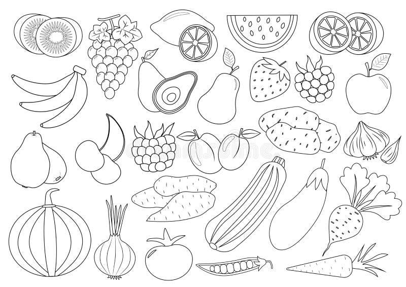Χρωματίζοντας σελίδα βιβλίων Κινούμενα σχέδια φρούτων, μούρων και λαχανικών απεικόνιση αποθεμάτων