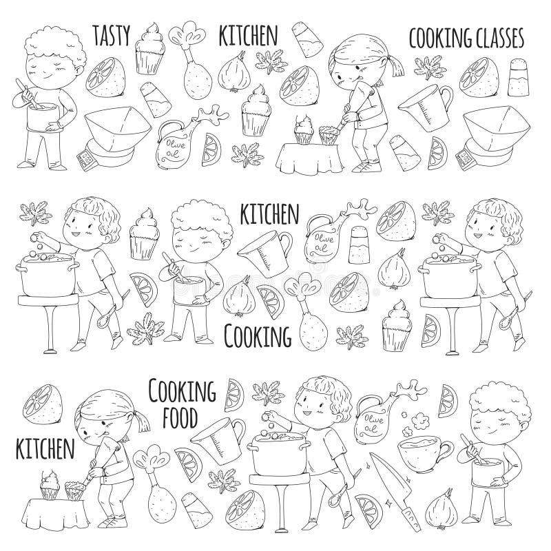 Χρωματίζοντας σελίδα για το βιβλίο kitchenware Μαγειρεύοντας κατηγορία, σειρές μαθημάτων για τα παιδιά και τους γονείς χρώματος δ ελεύθερη απεικόνιση δικαιώματος