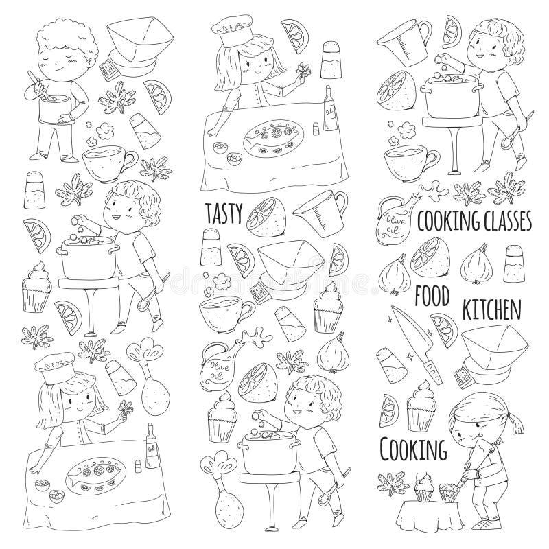 Χρωματίζοντας σελίδα για το βιβλίο kitchenware Μαγειρεύοντας κατηγορία, σειρές μαθημάτων για τα παιδιά και τους γονείς χρώματος δ διανυσματική απεικόνιση