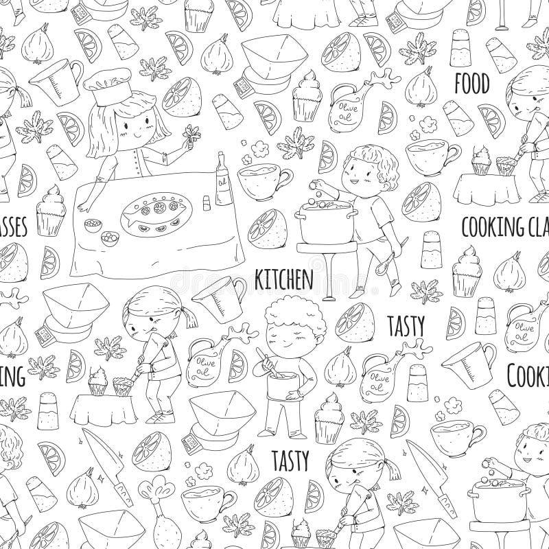 Χρωματίζοντας σελίδα για το βιβλίο kitchenware Μαγειρεύοντας κατηγορία, σειρές μαθημάτων για τα παιδιά και τους γονείς χρώματος δ απεικόνιση αποθεμάτων