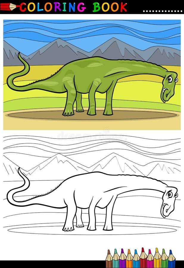 Χρωματίζοντας σελίδα δεινοσαύρων diplodocus κινούμενων σχεδίων διανυσματική απεικόνιση