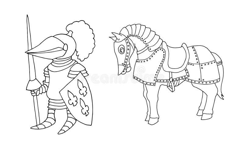 Χρωματίζοντας σελίδα μεσαιωνικό ιπποτών κινούμενων σχεδίων στα πρωταθλήματα ιπποτών διανυσματική απεικόνιση