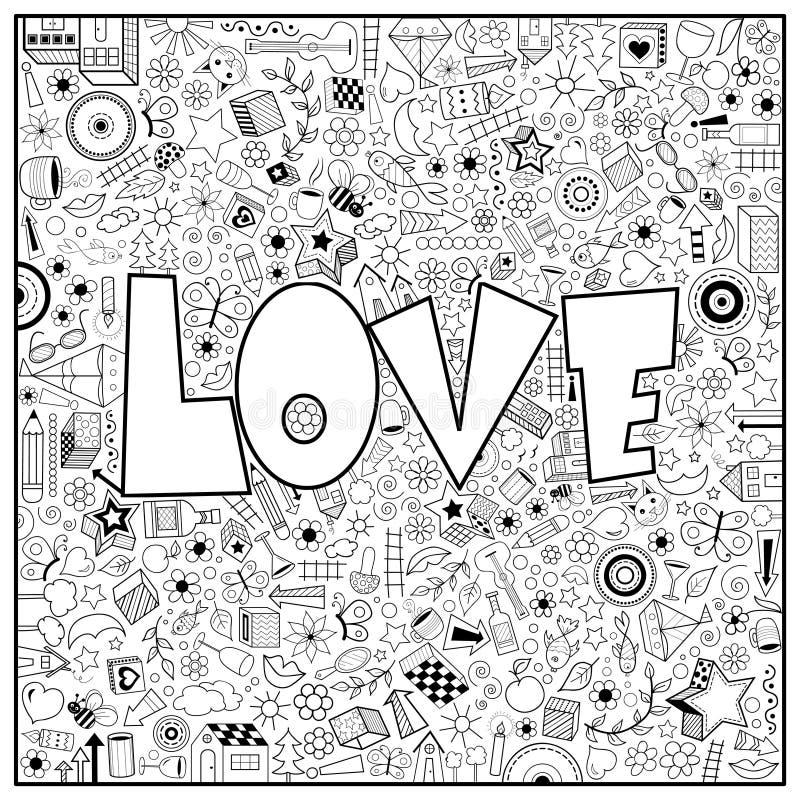 Χρωματίζοντας σελίδα με την απεικόνιση λέξης αγάπης ελεύθερη απεικόνιση δικαιώματος