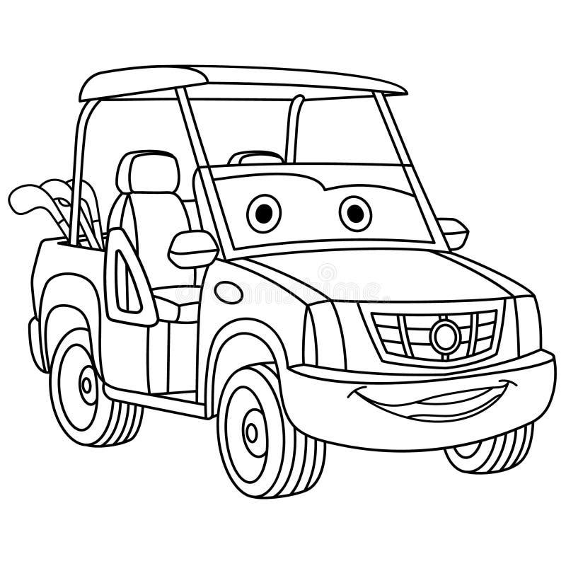 Χρωματίζοντας σελίδα με το αυτοκίνητο γκολφ στοκ εικόνες