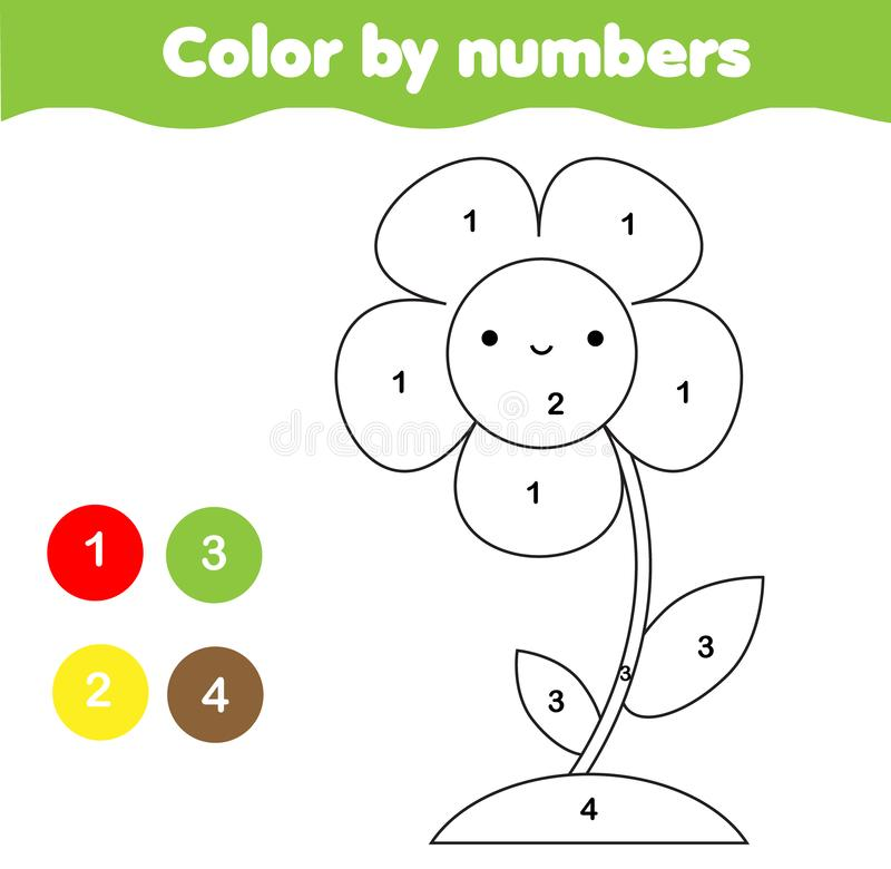 Χρωματίζοντας σελίδα με το λουλούδι Χρώμα από την εκτυπώσιμη δραστηριότητα αριθμών για τα παιδιά και τα παιδιά στοιχειώδες επίπεδ διανυσματική απεικόνιση