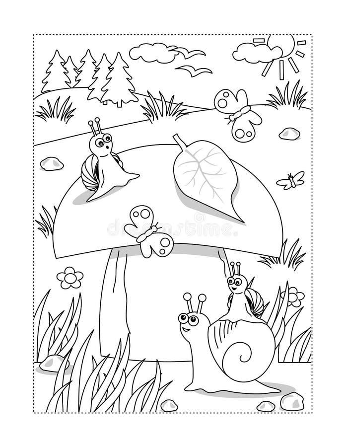 Χρωματίζοντας σελίδα με το μανιτάρι και τα σαλιγκάρια ελεύθερη απεικόνιση δικαιώματος
