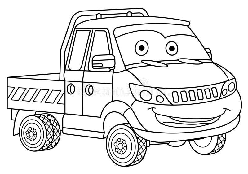 Χρωματίζοντας σελίδα με το φορτηγό φορτίου φορτηγών παράδοσης στοκ εικόνα
