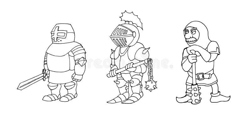Χρωματίζοντας σελίδα των κινούμενων σχεδίων τρία μεσαιωνικοί ιππότες που για τα πρωταθλήματα ιπποτών απεικόνιση αποθεμάτων