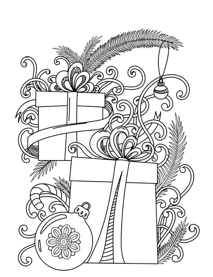 Χρωματίζοντας σελίδα Χριστουγέννων ελεύθερη απεικόνιση δικαιώματος