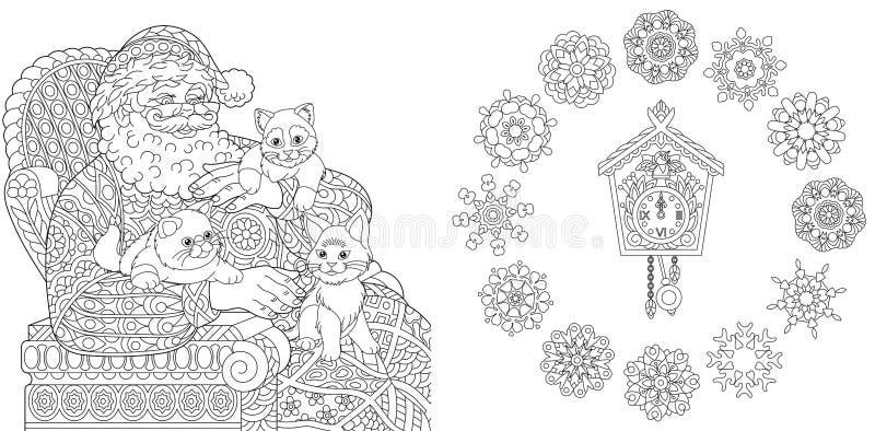 Χρωματίζοντας σελίδες με Santa και τις γάτες ελεύθερη απεικόνιση δικαιώματος