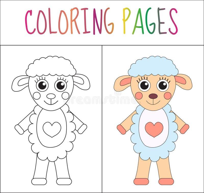 Χρωματίζοντας σελίδα βιβλίων Πρόβατα Έκδοση σκίτσων και χρώματος χρωματισμός για τα παιδιά επίσης corel σύρετε το διάνυσμα απεικό απεικόνιση αποθεμάτων