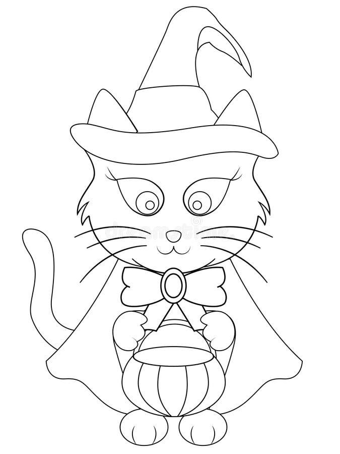 Χρωματίζοντας σελίδα γατών αποκριών κινούμενων σχεδίων ελεύθερη απεικόνιση δικαιώματος