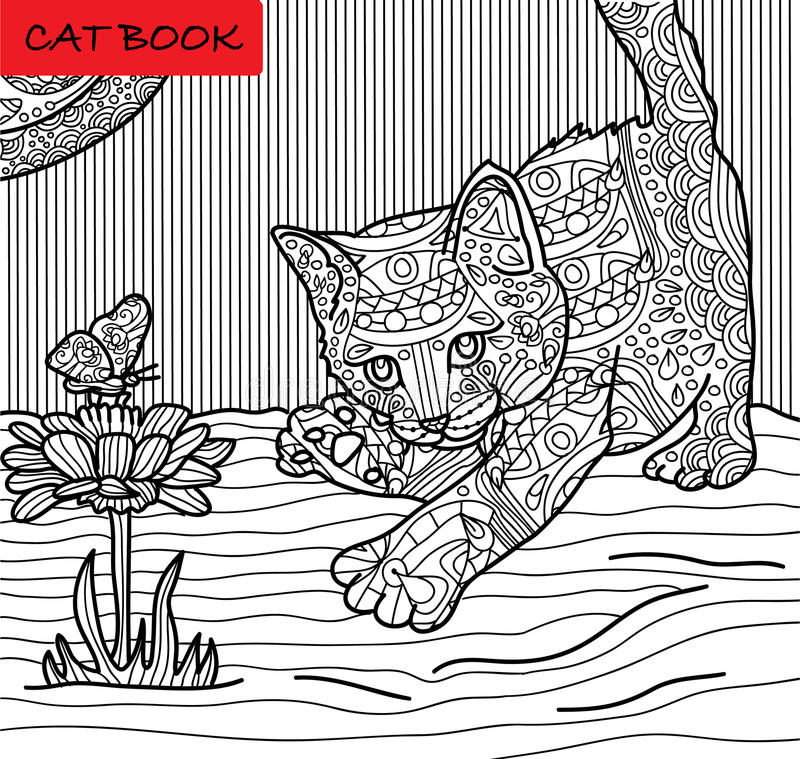 Χρωματίζοντας σελίδα γατών για τους ενηλίκους Κυνήγια γατακιών σε μια πεταλούδα Συρμένη χέρι απεικόνιση με τα σχέδια απεικόνιση αποθεμάτων