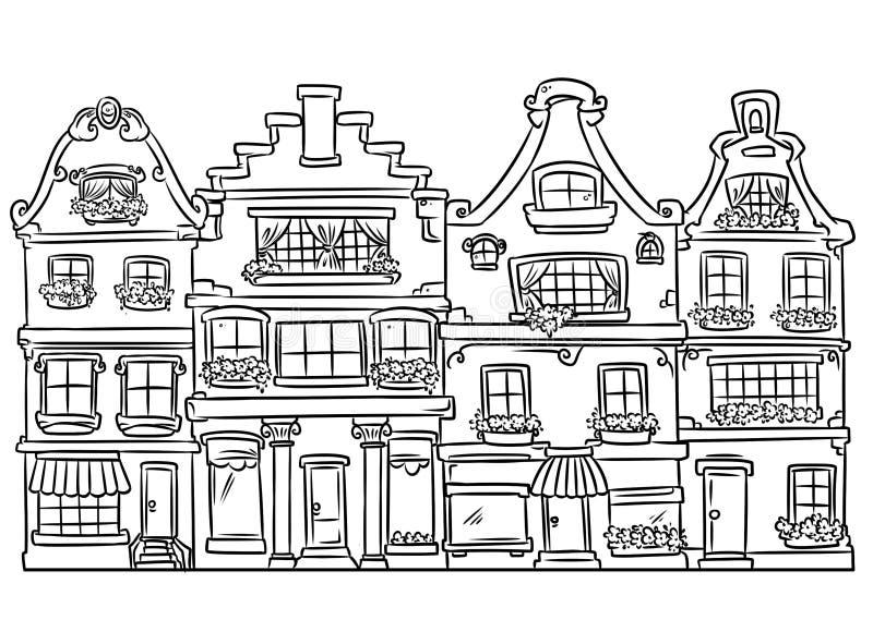 Χρωματίζοντας σελίδα εγχώριας αρχιτεκτονικής απεικόνιση αποθεμάτων