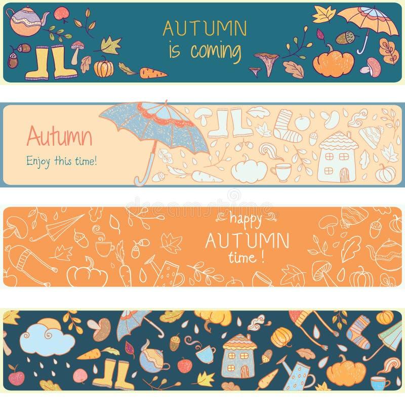 Χρωματίζοντας σελίδα με τα εικονίδια φθινοπώρου στοκ εικόνες
