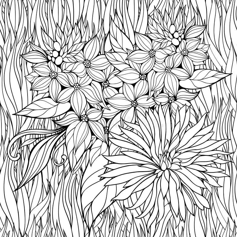 Χρωματίζοντας σελίδα με τα λουλούδια σε μια χλόη διανυσματική απεικόνιση